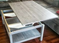 Hemnes Lift-top Coffee Table – IKEA Hackers It would also be a good spot to store remotes and such. distressed dark wood coffee table Gone a. Coffee Table Hacks, Lift Up Coffee Table, Ikea Coffee Table, Coffee Table That Raises Up, Ikea Table, Lego Table, Hemnes, Small Space Living, Small Spaces