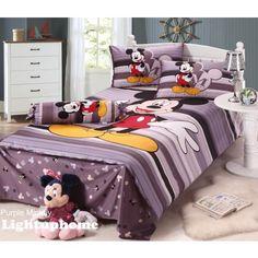 Purple Stripe Mickey Mouse Bedding Full -Disney Bedding Sets