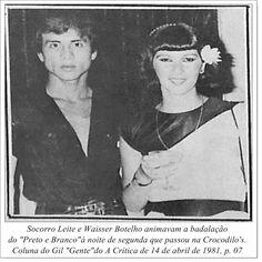 """Socorro Leite e Waisser Botelho. Coluna do Gil """"Gente"""" do A Crítica de 14 de abril de 1981."""