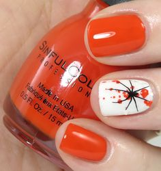 Bright orange nails with White gloss ring finger accent nail with orange splatter and a stamped spider Halloween / Holiday Nail Art Halloween Orange, Nail Art Halloween, Halloween Nail Designs, Holiday Nail Art, Halloween Spider, Halloween Outfits, Scary Halloween, Fall Halloween, Halloween Ideas