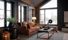Log Cabin Living, Home Bar Designs, Dere, Cabin Interiors, Lodge Decor, Loft Design, Bars For Home, New Homes, Living Room