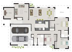 G.J. Gardner Wright plan. 3 bedroom floor plan, with study and living room.