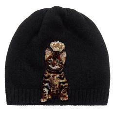 Girls super soft wool and cashmere knitted hat by Dolce & Gabbana. It has an adorable Bengal cat appliqué in a soft fleecy feel, with a gold gem crown and a ribbed hem.