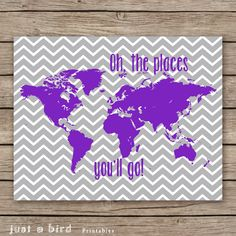 Oh the places you'll go 11x14 nursery by Justabirdprintables