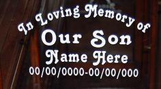 In Loving Memory of Our Son Vinyl Decal Auto Window Sticker Set of 2
