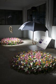 Wild-flower installation promoting Levi's forthcoming collaboration with Liberty's