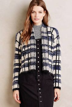 Plaid Eyelash Cardigan