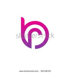 initial letter logo br, rb, r inside b rounded lowercase purple pink