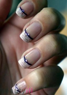Wedding nails lace purple art designs 55+ Ideas #WhiteToenailFungus Purple French Manicure, Purple Nail Art, Purple Nail Designs, Purple Nail Polish, French Manicure Designs, French Tip Nails, Nail Art Designs, French Tips, Purple Wedding Nails