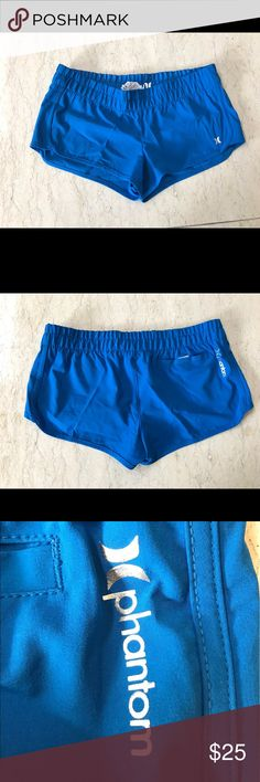 Hurley vibrant blue active wear shorts The shorts does not have inner lining, but is made of thin and semi-waterproof fabric, perfect for this sunny workout days. I'm 5'3 and the shorts are about finger tip length. Hurley Shorts