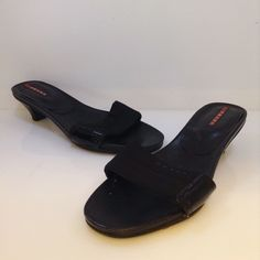 Prada black sandal with kitten heel. Size 38. Please call (949)715-0004 for inquiries.