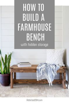 Learn how to build a beautiful farmhouse bench with hidden storage. Perfect for your entryway, under a window, or even a dining table. Dining Bench With Storage, Dining Table With Bench, Farmhouse Bench, Farmhouse Ideas, Bench Plans, Hidden Storage, Take A Seat, Extra Seating, Entryway