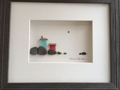 8 by 10 sea side sea glass houses pebble art by by PebbleArt