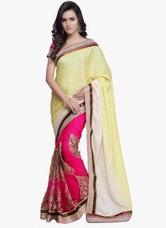 Imperial Jacquard Hot Pink Designer Saree