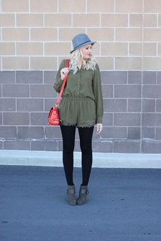 www.theredclosetdiary.com    Fashion Blogger wearing the cutest green romper, tights, booties and a fedora.