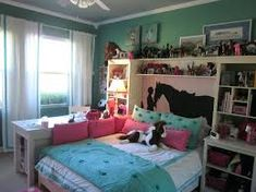 39 Beautiful Small Girl Bedroom Design Ideas You Have To See Horse Themed Bedrooms, Bedroom Themes, Bedroom Decor, Horse Bedrooms, Cute Bedroom Ideas, Girl Bedroom Designs, Design Bedroom, Master Bedroom Interior, Small Room Bedroom