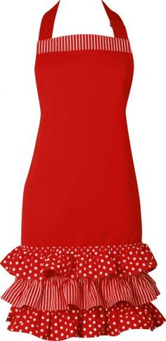 The Happy Housewife!    Spots + Stripes + Frills - Apron - Red from Ogilvies Designs    #retro #red #apron #housewife