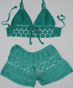 Items similar to Teal Hand Crochet Shorts Hot Pants - Beachwear Resort Bikini Bathing Suit Cover Up - Handmade In Chile on Etsy Crochet Halter Tops, Crochet Bikini Top, Crochet Shorts, Crochet Clothes, Lace Shorts, Crochet Top, Crochet Woman, Hand Crochet, Shorts E Blusas