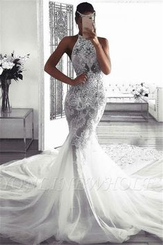 Babyonlinewholesale custom made this cheap mermaid sleeveless halter wedding dress, we sell dresses online all over the world. Also, extra discount are offered to our customers. We will try our best to satisfy everyone and make the dress fit you well. Beautiful Wedding Gowns, Dream Wedding Dresses, Bridal Dresses, Bridesmaid Dresses, Prom Dresses, Halter Wedding Dresses, Glamorous Wedding, Long Dresses, Tulle Wedding