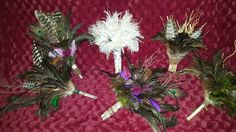Wedding bouquet DIY feathers branches rustic nature