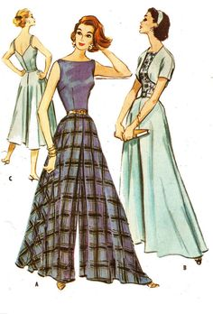 McCalls 4318; ©1957; Misses Vintage 1950s Lounging or Patio Culottes, Bolero and Belt Sewing Pattern. Sizes: 12 Bust 32 Waist 25 Hip 34 Cut/complete. The front and back pant pieces have been cut to the shorter length, but the cut off piece is included. Payment methods accepted: