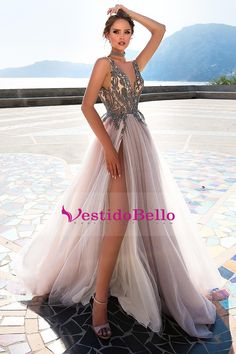 Sexy V Neck Grey Tulle Party Dress with Beaded, Long Prom Dresses 2019 - Bridal Gowns Party Dresses Online, Lace Party Dresses, Lace Dress, Evening Dresses, Dress Online, Purple Wedding Dresses, Dresses Dresses, Floral Wedding, Straps Prom Dresses