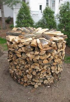 round wood stack firewood rack diy no tools
