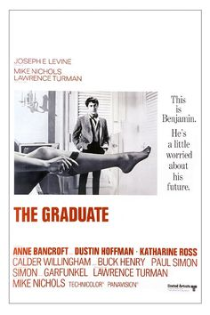 "The Graduate ~ ""Recent college graduate Benjamin Braddock is trapped into an affair with Mrs. Robinson, who happens to be the wife of his father's business partner and then finds himself falling in love with her daughter, Elaine."""