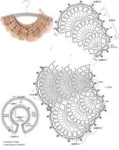 오늘도 코바늘 케이프 도안 : 네이버 블로그 Crochet Collar Pattern, Col Crochet, Crochet Lace Collar, Crochet Stitches Chart, Pixel Crochet, Crochet Lace Edging, Bead Crochet Rope, Crochet Diagram, Crochet Books