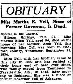 Yell, Martha Ellen Obituary