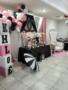 Regina A's Baby Shower / Chanel - Kerina's Chanel Inspired Baby Shower at Catch My Party Chanel Birthday Party, Chanel Party, Birthday Party For Teens, 16th Birthday, Paris Themed Birthday Party, Birthday Ideas, Spa Birthday, Chanel Baby Shower, Paris Baby Shower