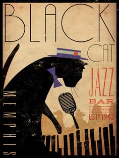 Black Cat Piano Jazz Bar artists print giclee via Etsy ~ by Stephen Fowler, Gemini Studio Art