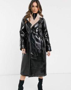 Buy ASOS DESIGN vinyl borg bonded trench coat at ASOS. With free delivery and return options (Ts&Cs apply), online shopping has never been so easy. Get the latest trends with ASOS now. Asos, Trenchcoat Style, Mode Mantel, Cool Coats, Orange Fashion, Rain Wear, Disney Outfits, Vinyl, Safari
