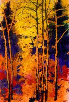 """""""AUTUMN PALETTE  12089, acrylic faux batik tree landscape © Carol Nelson Fine Art"""" - Original Fine Art for Sale - © Carol Nelson"""