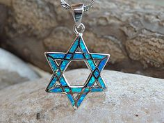 Opal Star of David Necklace. Blue Star of David by rebekajewelry Star Of David Pendant, Jewish Jewelry, Star Necklace, Blue Opal, Jewelry Gifts, Jewellery, Playing Dress Up, Gifts For Her, My Etsy Shop