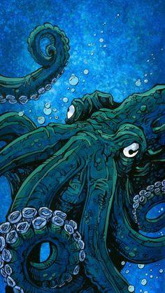 Photo Pop Art Wallpaper, Iphone Background Wallpaper, Graphic Design Illustration, Illustration Art, Deep Sea Creatures, Sea Creatures Drawing, Octopus Art, Whatsapp Wallpaper, Creature Drawings