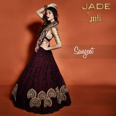Steal the show on stage in this marsala and gold lehenga.  #JadebyMK #indianfashion #indianlehnga #Sangeetoutfit #JadeCouture #bridalwear #indianbridal