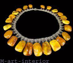 Art Deco Bernstein Collier Baltic Butterscotch Honey 老琥珀 Amber Necklace 96,39g