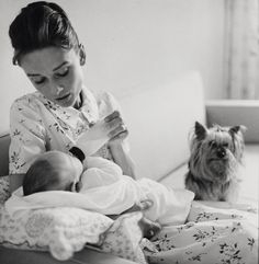 """timelessaudrey: """" Audrey,Sean and Mr. Famous photographed by Richard Avedon,1960 """""""