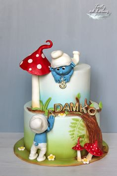 The Smurfs cake by Lorna