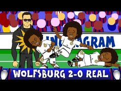 Marcelos joke dive v Wolfsburg gets the cartoon treatment (Video) Uefa Champions League, Real Madrid, Troll, Diving, Jokes, Cartoon, Soccer, Fictional Characters, Sports