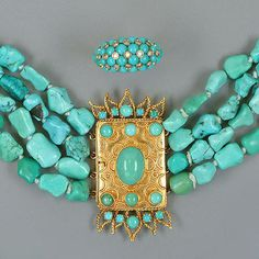 A multiple-strand turquoise necklace,