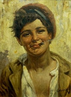 A Villone paints a Gypsy Boy, 16x22 Oil Painting