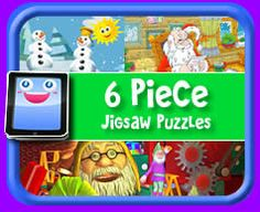 6 Piece Online jigsaw puzzle for kids.  Play with most devices including iPad, Android, Windows and more!*12 NEW PUZZLES ADDED DECEMBER 2013*