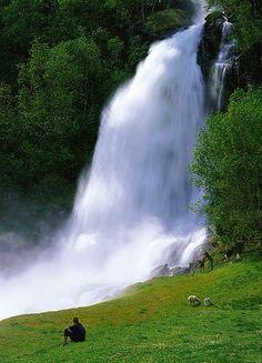 Steinsdalsfossen waterfall, Norheimsund, Hardangerfjord region of Norway. You can walk behind it!