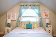 bedroom makeover - chartreuse turquoise bedding