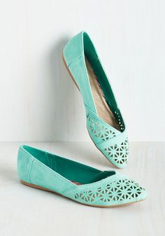 Down the Bright Path Flat in Aqua. With your buoyant and blithe demeanor and these turquoise flats, its no wonder youre skipping along the path of positivity! #mint #modcloth