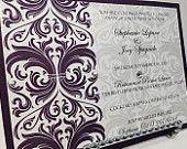 Invitations de mariage, invitation damassée, invitations élégantes, modernes invitations, invitations pourpres, invitations Classic
