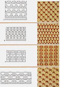 kinds of crochet pattern Crochet Stitches Chart, Crochet Diagram, Knitting Stitches, Crochet Fabric, Crochet Motif, Free Crochet, Crochet Lace, Lace Patterns, Stitch Patterns