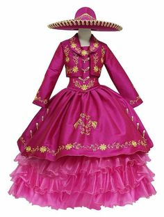 Charro Dresses, Kids Party Wear Dresses, Halloween Disfraces, Mexican Style, Red Hats, Sweet Girls, A Line Skirts, Cosplay Costumes, Designer Dresses
